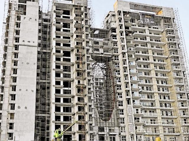 An under-construction Homeland Heights project in SAS Nagar where a labourer died on Thursday.(HT Photo)