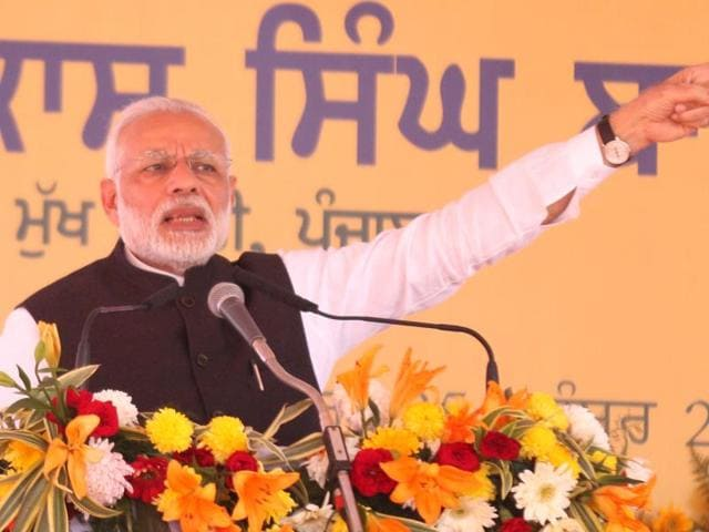 PM Modi speaking at the AIIMS foundation-laying function in Bathinda on Friday.