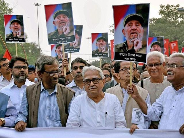 Left Front leaders in Kolkata march during a rally to pay their respect to Cuban leader Fidel Castro on Saturday.