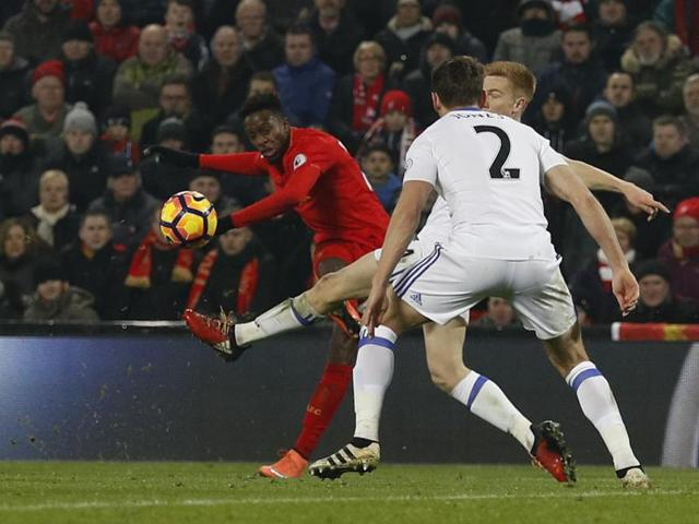Liverpool's Divock Origi scores their first goal against Sunderland in their Premier League match at Anfield on Saturday.