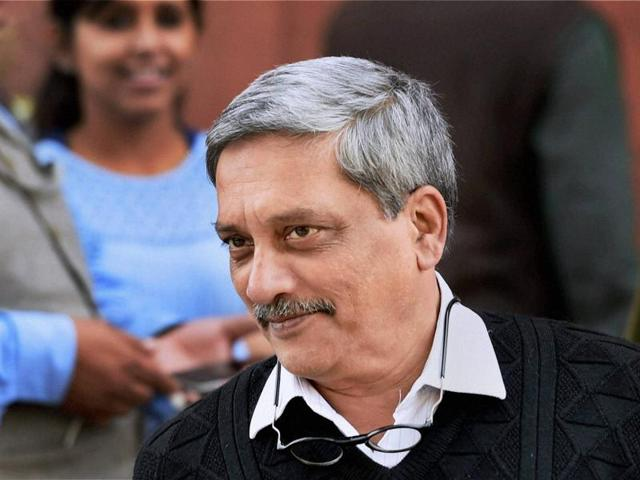 Defence minister Manohar Parrikar at Parliament House during the winter session, on Friday.(PTI)