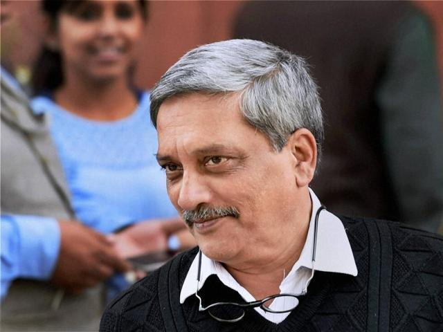 Defence minister Manohar Parrikar at Parliament House during the winter session, in New Delhi on Friday.