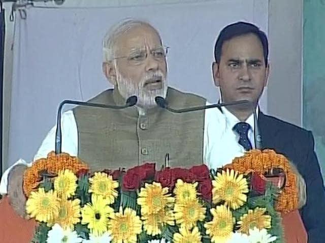 PM Modi addressing a public rally in Kushinagar.