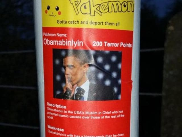 Police are investigating the hate crime after the stickers, mock-up versions of Pokemon cards mimicking the real game's slogan 'Gotta catch'em all'.