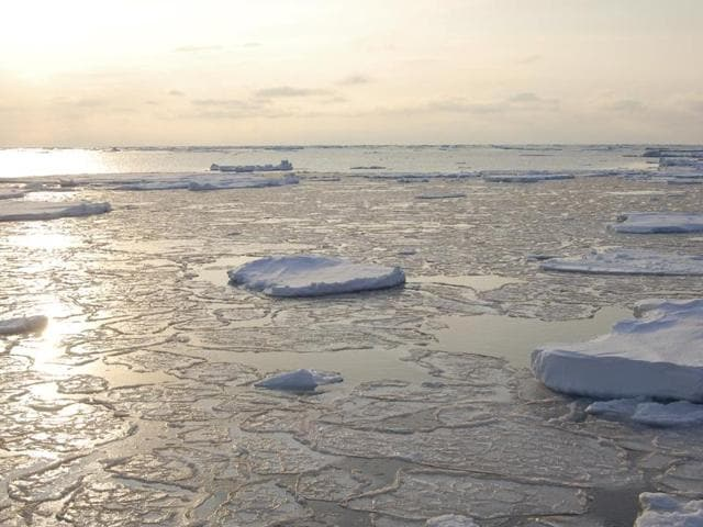 Ice floats in the Arctic near Svalbard, Norway. September Arctic sea ice is now declining at a rate of 13.3% per decade, relative to the 1981 to 2010 average.