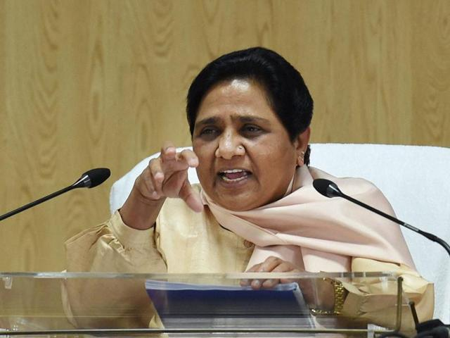 BSP chief Mayawati addressing a press conference in New Delhi on Saturday.