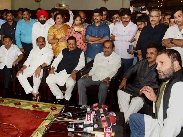 Congress vice-president Rahul Gandhi with the state party office-bearers in Mumbai.