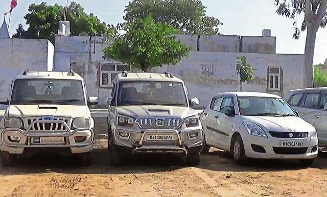 Stolen vehicles recovered by police during raids at  Bawariya Basti in Bharatpur on Sunday.