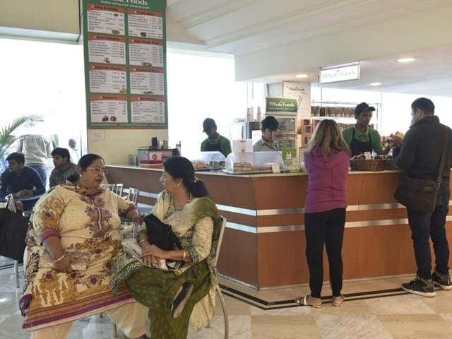 Whole Foods has healthy food outlets at offices across Delhi, including the Max Super Speciality Hospital (above).