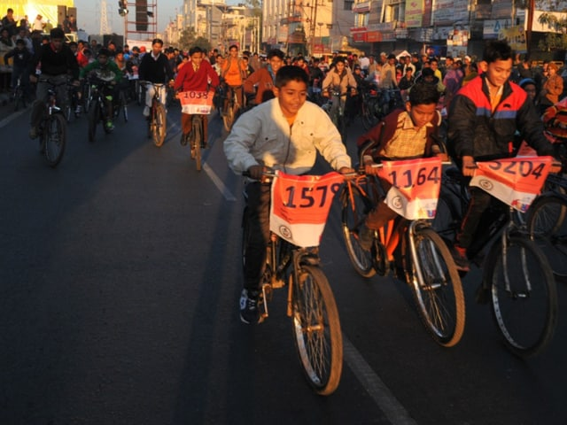 People participate in cyclothon in Indore on Sunday.