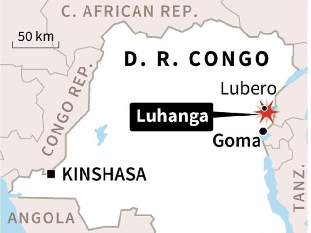 Map of the DR Congo, locating Sunday's attack on the Hutu village of Luhanga.