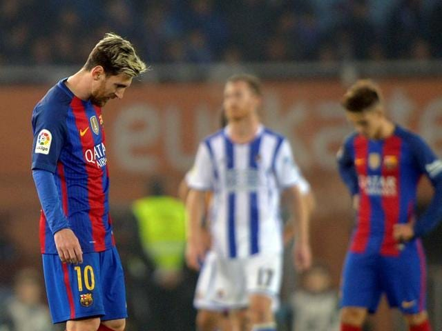 Despite Lionel Messi's getting on the scoresheet, Barcelona could not end their nine-year long winless streak at Real Sociedad. They now trail La Liga leaders Real Madrid by six points.