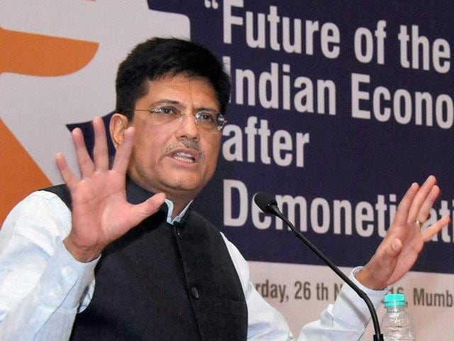 Union Power Minister Piyush Goyal speaks at (BSE) Bombay Stock Exchange in South Mumbai on Saturday.