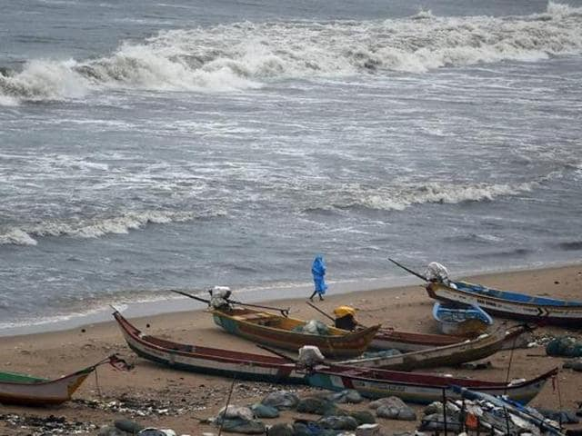 Four young men are feared washed away in the Bay of Bengal off the coast of Andhra Pradesh.