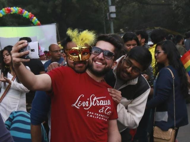 Participants from the 9th Delhi Queer Pride Parade dance and celebrate the spirit of freedom.(Zabeeh Afaque/HT Photo)