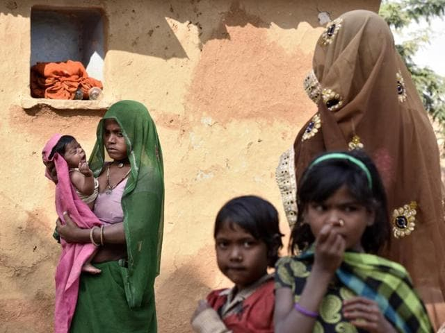 Rajasthan has 73 lakh children under five years of age according to the 2011 census. Rapid Survey of Children (RSOC) by the state health department 2013-14 revealed that 2.9% children aged 6-50 months suffer from severe acute malnutrition.(Virendra Singh Gosain/HT File Photo)