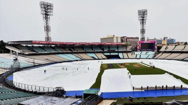 Some of the covers were removed as the ground staff try to prepare the ground but there is a threat of rain even during the match on Thursday.