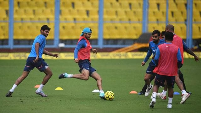 Manish Pandey, who has not contributed much in the series, has a good football session.