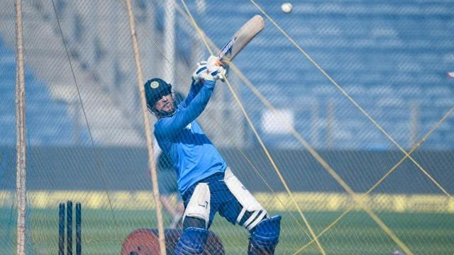 MS Dhoni in action during the final training session at the Maharashtra Cricket Association Stadium in Pune.