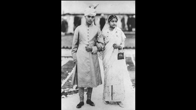Nehru with his wife Kamala on their wedding day in 1916. Their initial years saw a contrasting clash of ideologies as Nehru descended from a modernised western background while Kamala hailed from a conservative Kashmiri family.