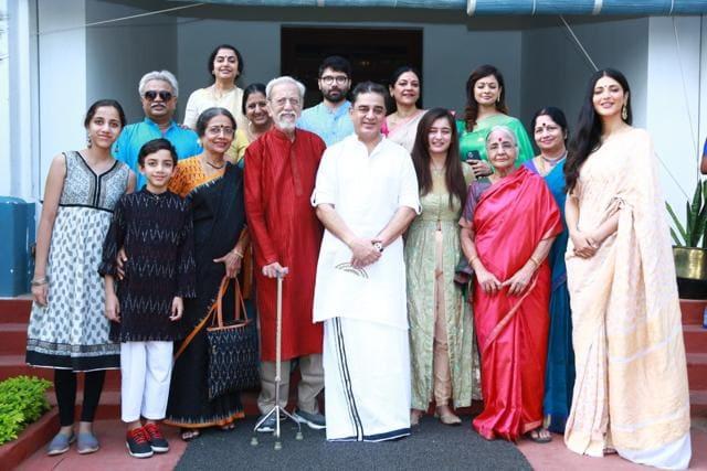 Kamal Haasan Celebrates His 65th Birthday With Daughters Shruti And Akshara In Paramakudi