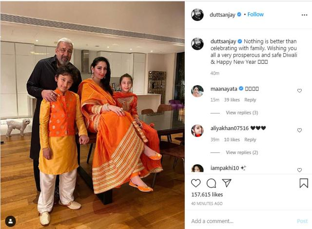Happy Diwali: Sanjay Dutt Stuns In A Black Kurta While Wife Maanayata And Kids Steal The Show In Color-Coordinated Outfits