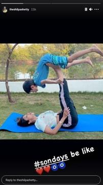 Shilpa Shetty, Shamita And Viaan Practice Yoga Asanas While On Vacation