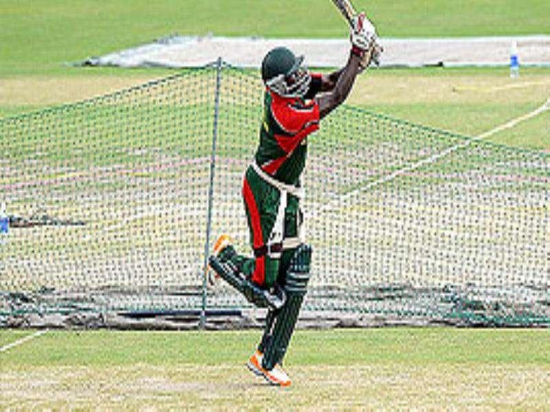 Kenya's cricketer Steve Tikolo bats in the nets during a team training session at the Feroz Shah Kotla Stadium in New Delhi. Kenya are set to face Canada in match 23 of the ICC Cricket World Cup tournament in New Delhi on March 7.