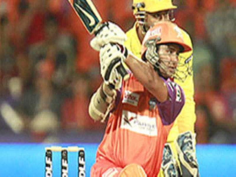 Chennai Super Kings's Parthiv Patel hits a shot against Kochi Tuskers Kerala during the 4th DLF Indian Premier league 2011 match between Kochi Tuskers Kerala vs Chennai Super Kings at Kochi.