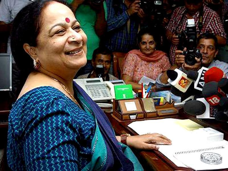 A file photo of Jayanthi Natarajan, former minister of state (independent charge) for environment and forests in her office in New Delhi. (PTI photo)