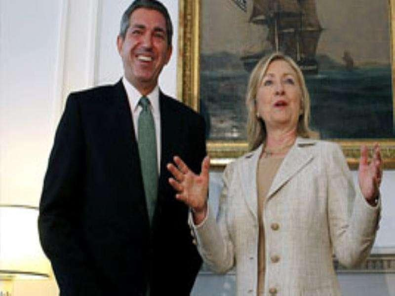 US secretary of state Hillary Rodham Clinton, right, gestures as Greek foreign minister Stavros Lambrinidis looks on in Athens.