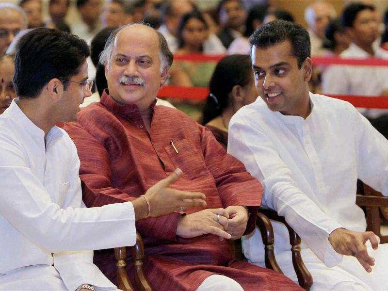 Gurudas Kamat, Sachin Pilot and Mlind Deora during a function of release the Commemorative Postage Stamp on the late V S Page at Rashtrapati Bhavan in New Delhi.