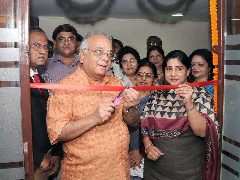 Prof. Mushirul Hasan, director general National Archives of India, inaugurating the Specialised Govt. Business Branch of Canara Bank at the National Archives Building, Shastri Bhawan in New Delhi.
