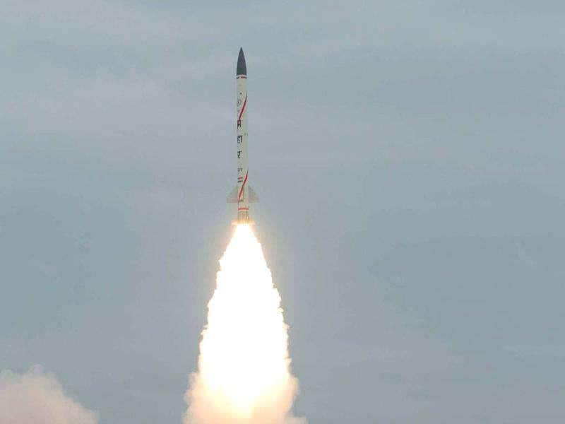 Prahar, a short-range surface-to-surface missile developed by Defence Research and Development Organisation, is successfully test-fired from the Integrated Test Range in Balasore district.