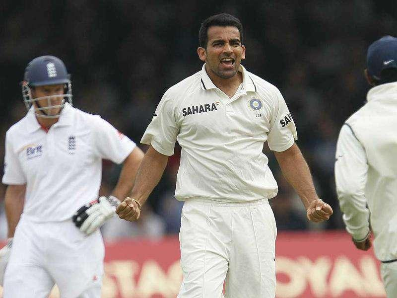Zaheer Khan, celebrates taking the wicket of England's Alastair Cook, unseen, during the first day of the first Test at Lord's Cricket ground in London.