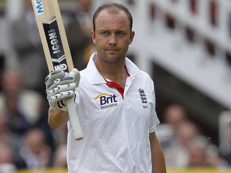 England's Jonathan Trott acknowledges the crowd after reaching 50 runs not out against India during Day 1 of the first Test match at Lord's Cricket Ground in London.