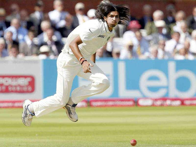 Ishant Sharma bowls against England during Day 2 of the first Test match at Lord's cricket ground in London.