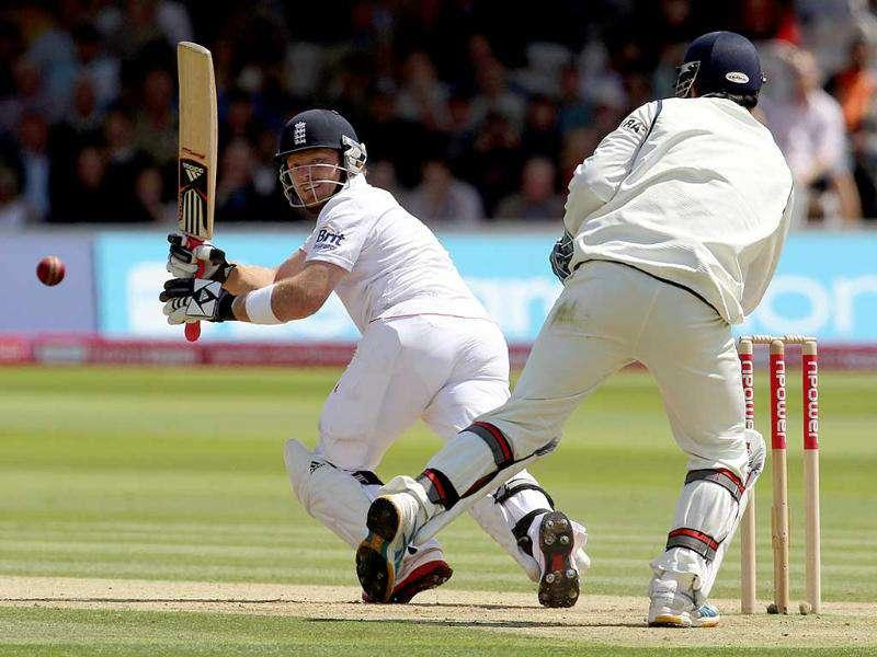 Ian Bell plays a shot against India during day two of the first Test match at Lord's cricket ground in London.