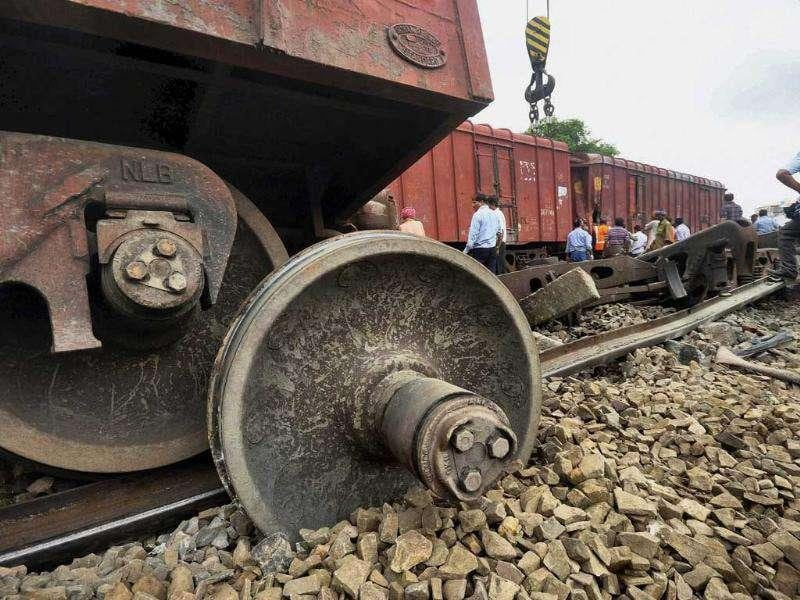 Restoration work in progress after a goods train derailed near Allahabad City station, in Allahabad.