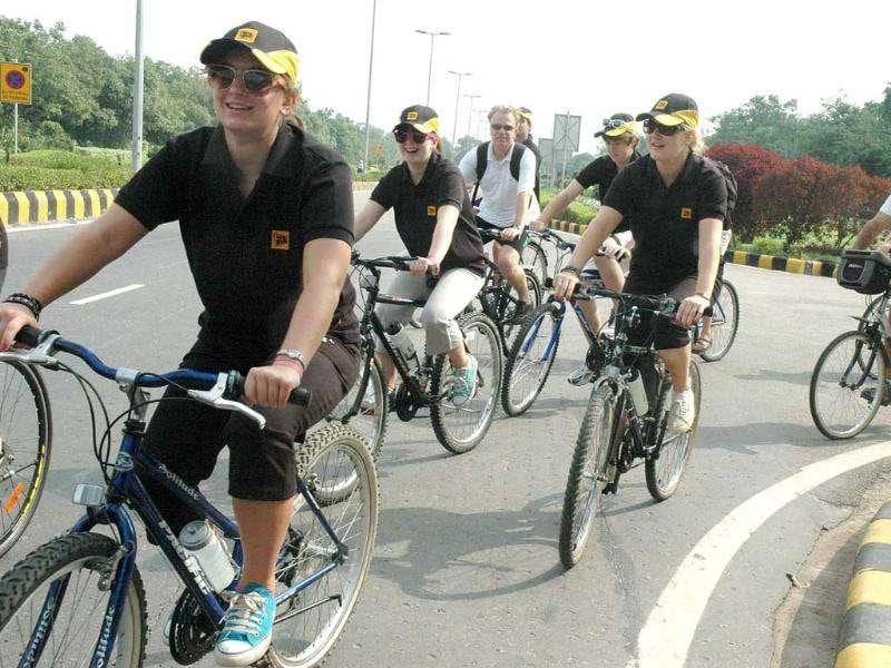 Participants during the the cycle ride to raise funds for cancer charities