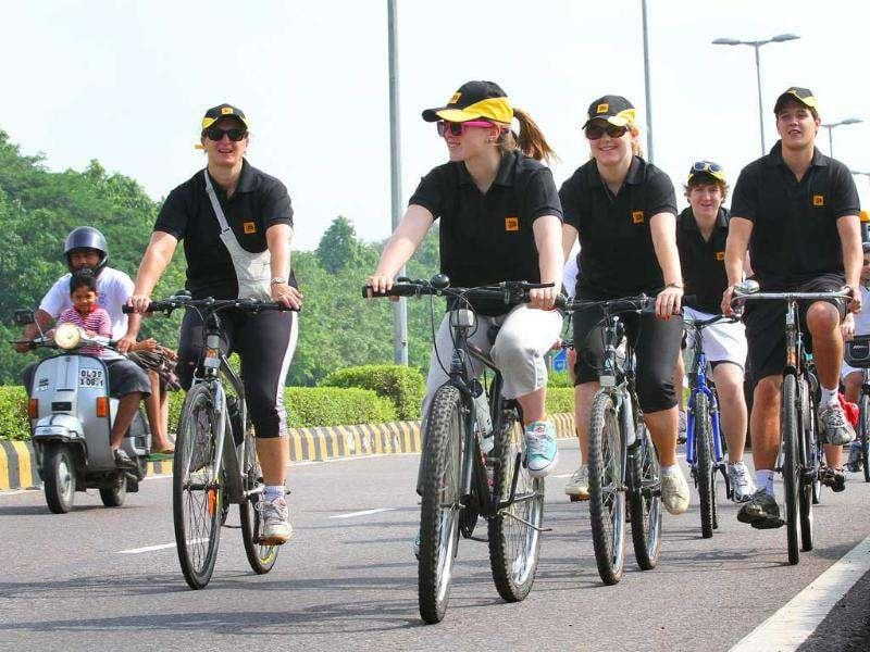 Lady Arabella Stagg (Left) wife of Richard Stagg British High Commissioner to India participated in a cycle rally , Peddle for A Better Tomorrow to raise funds for cancer charities in New Delhi.