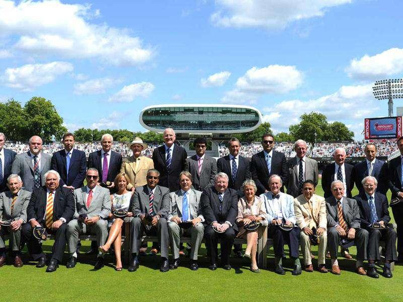 Former England and India captains pose for a photograph at lunch during Day 4 of the first Test match at Lord's in London.