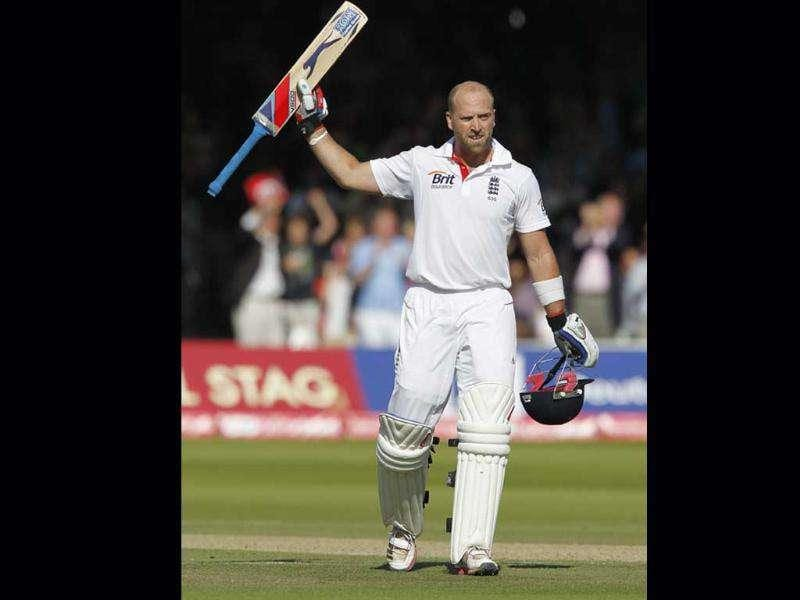 England's Matt Prior celebrates after reaching 100 runs not out against India during Day 4 of the first Test match at Lord's in London.