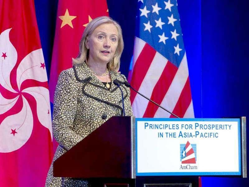 US secretary of state Hillary Clinton speaks at the American Hong Kong and Macau Chambers of Commerce during her visit to Hong Kong.
