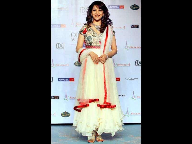 Madhuri Dixit looked absolutely stunning in a cream anarkali suit.