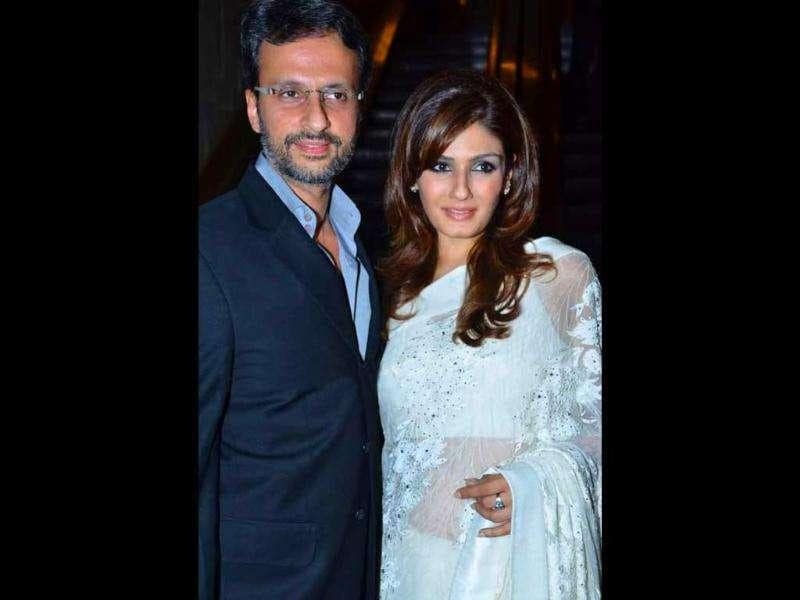 Raveena Tandon was spotted with husband Anil Thadani during designer Manav Gangwani's show.
