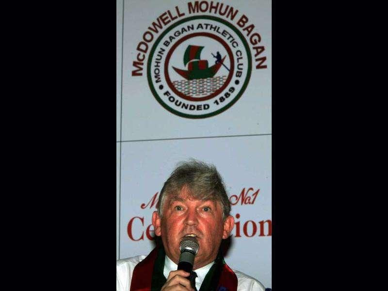 English Soccer coach Steve Darby interacts with media after his appointment as a chief coach of India's National Football Club Mohun Bagan in Kolkata.