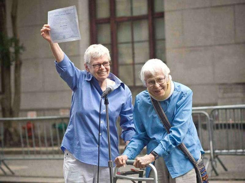 (L-R) Phyllis Sifel and Connie Kopelov celebrate after being married at the marriage bureau in lower Manhattan.