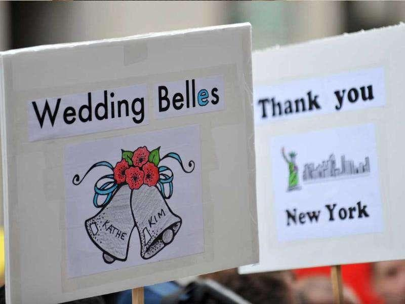 A sign seen outside Manhattan's City Clerk's Office as same-sex couples wait to marry in New York.
