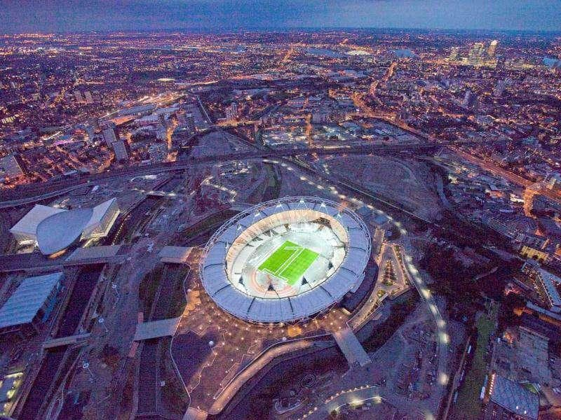 An aerial photo shot shows the London Olympic Stadium.